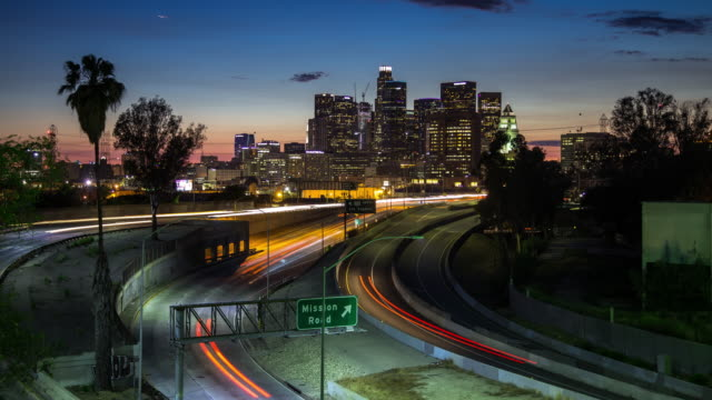 Sunset on LA Freeway - Time Lapse video