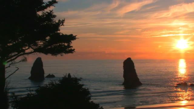 Sunset on Oregon Coast video