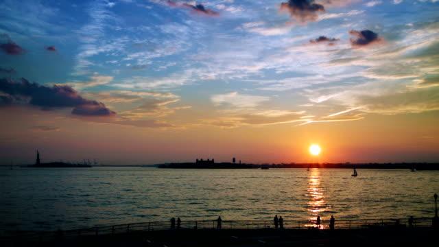 Sunset on Robert F Wagner Junior Park bay video
