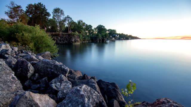 Sunset on Rocks on Lake Erie Shore video