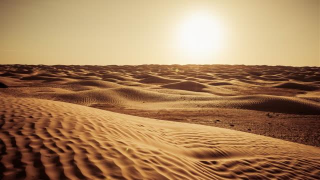 sunset on sahara desert / grand erg oriental / tunisia - desert stock videos & royalty-free footage