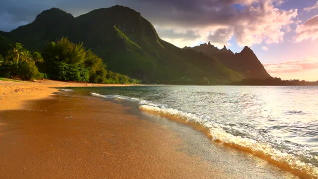 sunset on the north shore of kauai-tunnels beach, hawaii video