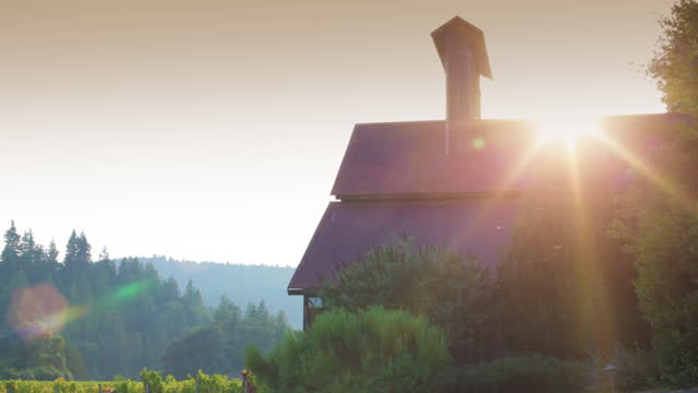 Sunset over a Rural Building at the Vineyard Sunset over a Rural Building at the Vineyard barns stock videos & royalty-free footage