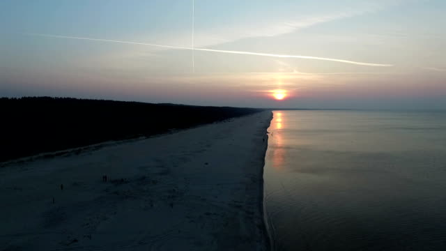 Sunset over Baltic beach video