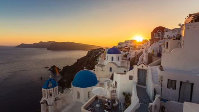 Sunset over beautiful village of Oia on Santorini Island video