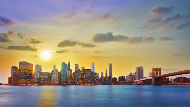 Sunset over business district New York video