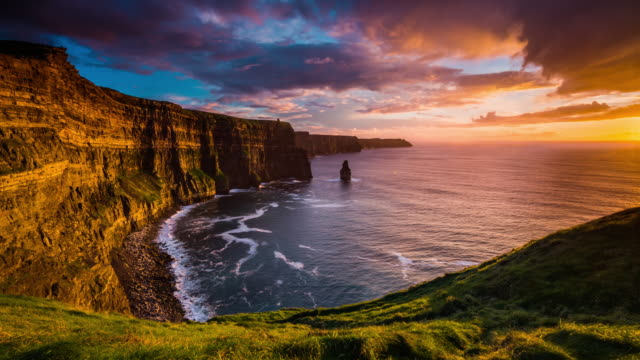 Sunset over Cliffs of Moher in Ireland - Time Lapse video