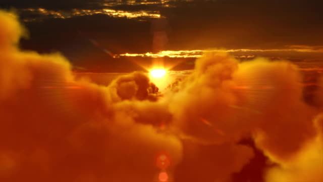 Sunset over clouds. From day to night. video