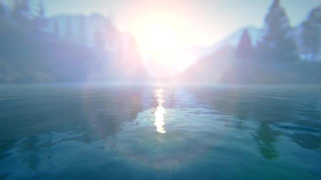 Sunset over defocused lake