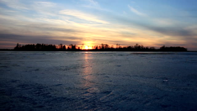 Sunset Over Frozen River video