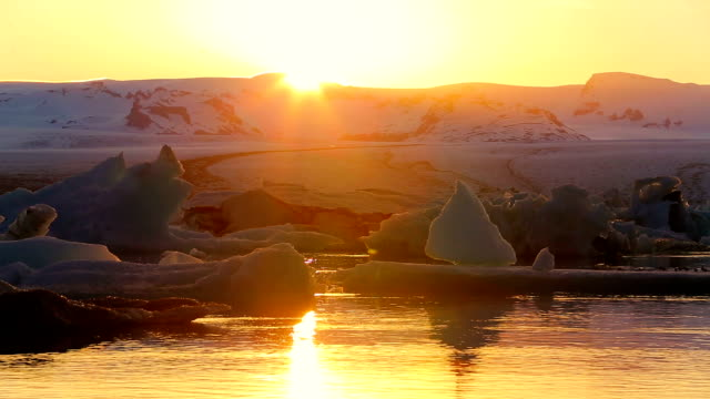 Sunset over Icebergs video