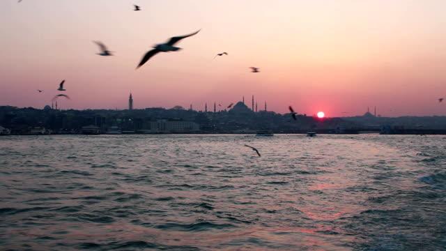 vídeos y material grabado en eventos de stock de atardecer en istanbul - distrito eminonu