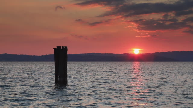 Sunset Over Lake Garda in Italy Viewed From the Sirmione Waterfront
