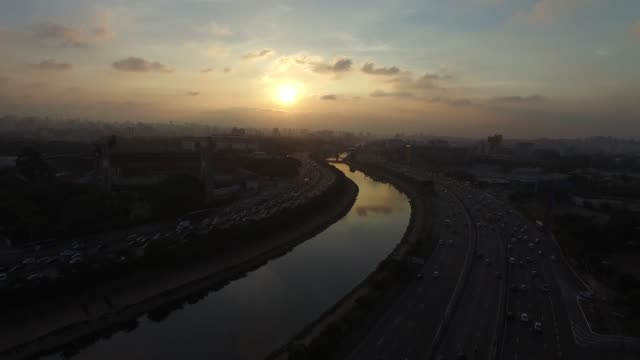 Sunset over Marginal Tiete in Sao Paulo Sunset over Marginal Tiete in São Paulo marginal tiete highway stock videos & royalty-free footage