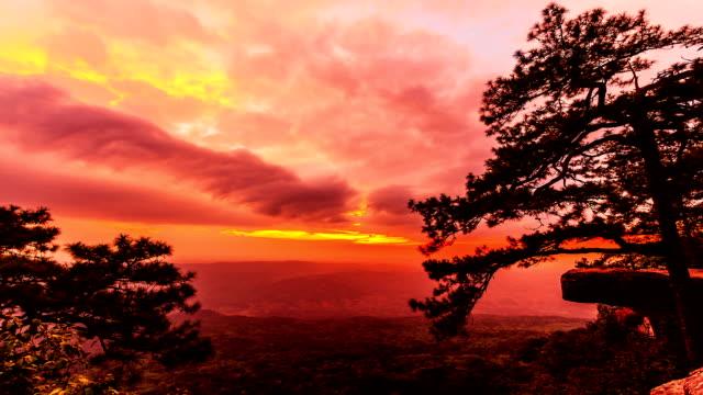 sunset over mountain video