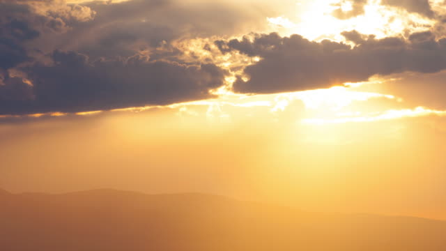 Sunset over mountains video