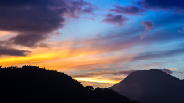 Sunset over mountains Day to night timelapse of a sunset over mountains as the sky changes colour and night sets in. Shikoku, Japan. October 2016 natural condition stock videos & royalty-free footage