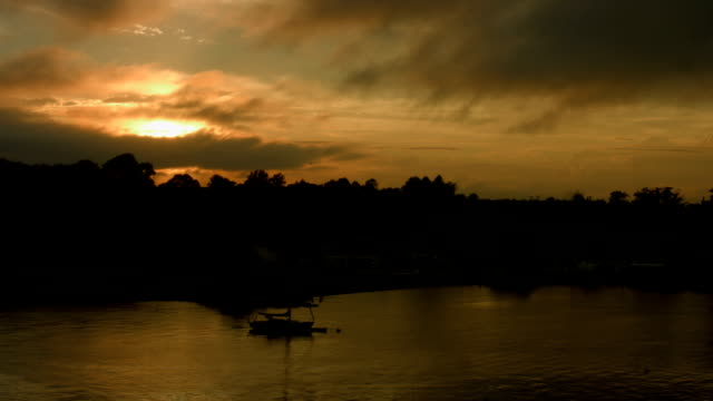 Sunset Over Newport, Ri Bay With Boats video