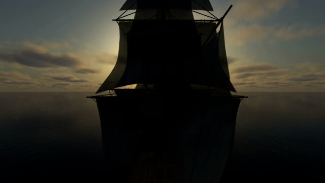 sunset over ocean and ships video