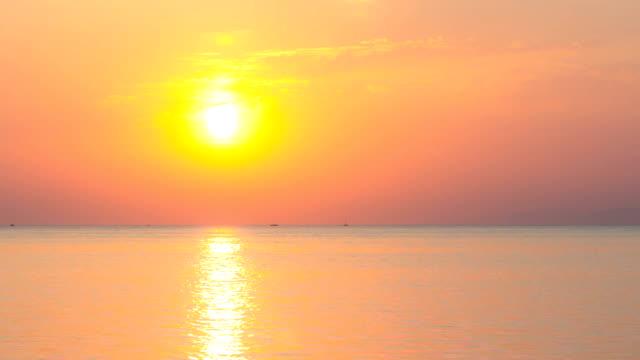 Sunset over ocean. Timelapse. video