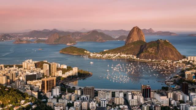 Sunset over Rio de Janeiro panning Time Lapse video