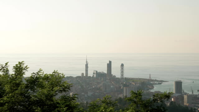 Sunset over the city from the top, Batumi, Geogia video