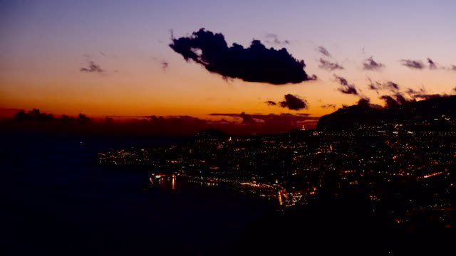 Sunset over the city of Funchal on Madeira island during a beautiful summer evening Sunset over the city of Funchal on Madeira island during a beautiful summer evening. funchal stock videos & royalty-free footage