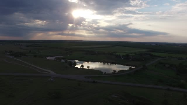 Sunset over the lake in the prairie video
