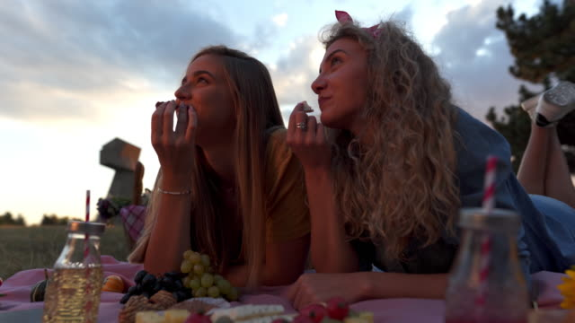 Sunset picnic Serbia,Adult,4k,Girls picnic stock videos & royalty-free footage