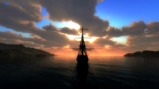 sunset sea old ship