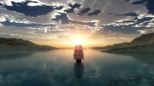 zachód słońca w morzu - columbus day filmów i materiałów b-roll
