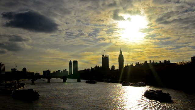 Sunset silhouette of London skyline at sunset video