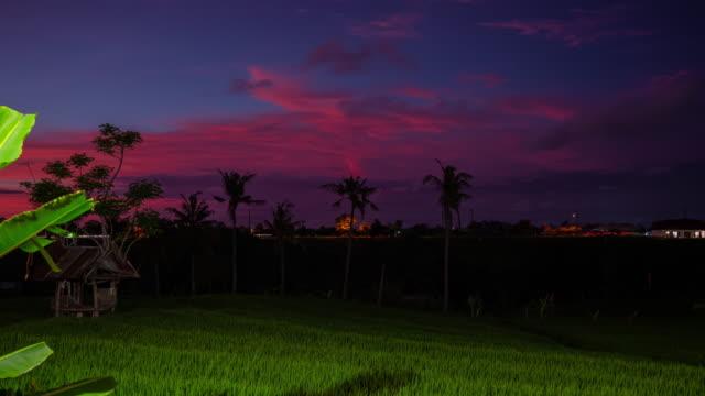 sunset sky bali island famous rice terrace traffic road timelapse panorama 4k indonesia