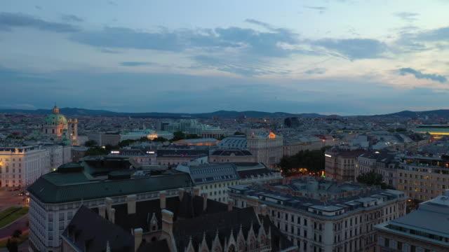 sunset sky vienna city center aerial panorama 4k austria - vídeo