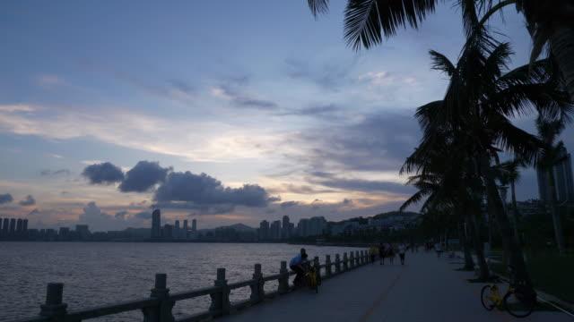 sunset sky zhuhai city bay slow motion panorama 4k china - zhuhai video stock e b–roll
