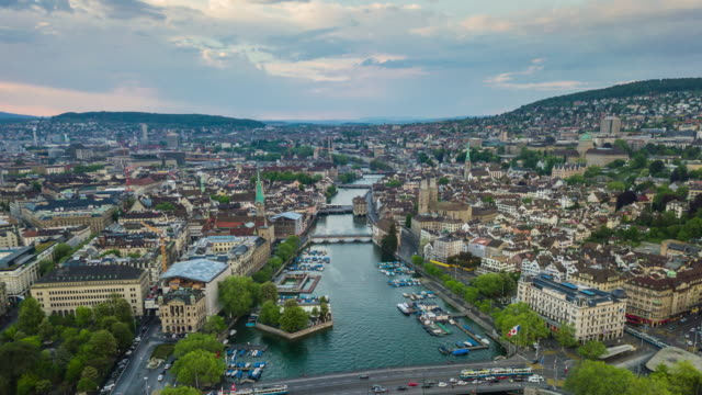 sunset sky zurich lakeside river view cityscape aerial panorama 4k time lapse switzerland