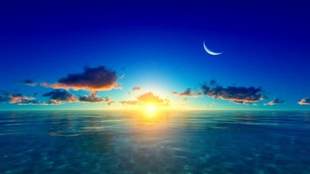 Sunset / sunrise over tropical ocean video