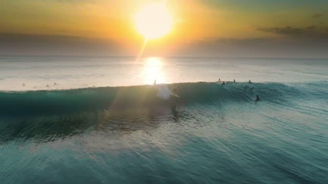 Sunset Surfing Uluwatu Barrel Aerial Slowmotion 4k