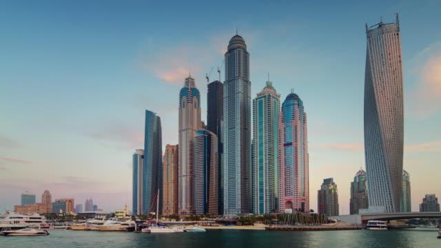 sunset till night light dubai marina famous panorama 4k time lapse united arab emirates video