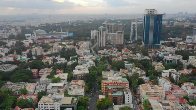 sunset time bangalore cityscape downtown aerial panorama 4k india