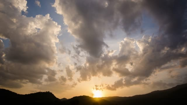 Sunset Time Lapse and Cloudy with blue sky on the Mountain