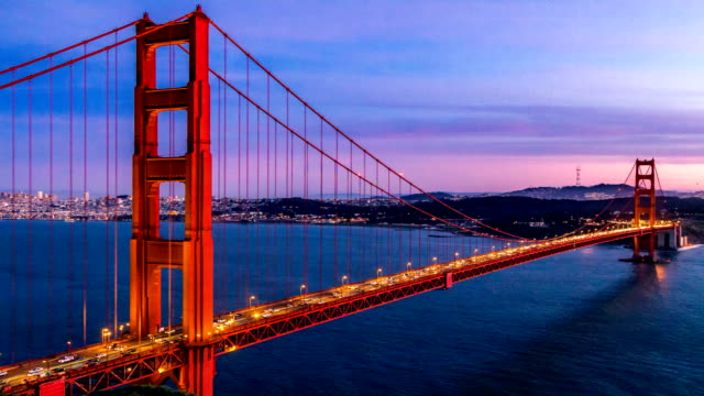sunset time lapse at golden gate bridge, san francisco - landmarks stock videos and b-roll footage