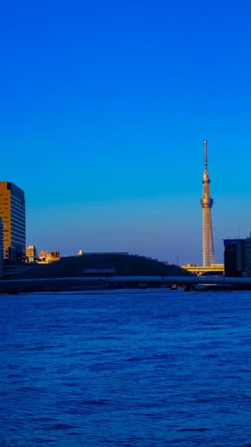 Sonnenuntergang Zeitraffer am Tokioter Himmelsbaum hinter der Eitaibashi-Brücke vertikal – Video