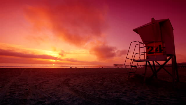 sunset time lapse in san diego pacyfic beach 4k - sunset stock videos & royalty-free footage