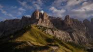 istock Sunset Time Lapse of Gardena pass , passo gardena in dolomites south tyrol Italy alps 654098428