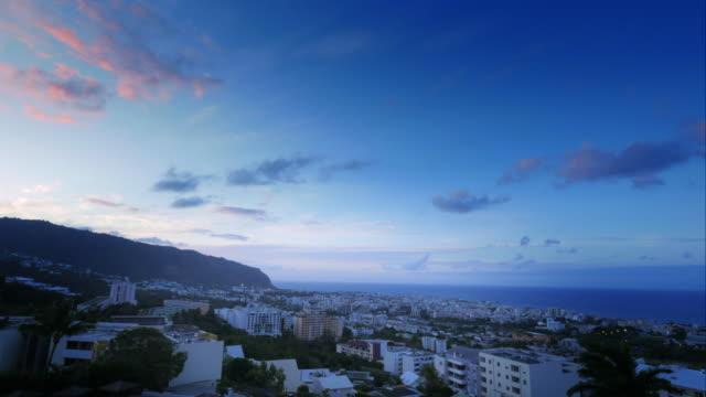 4K sunset time lapse of Saint-Denis, La Réunion video
