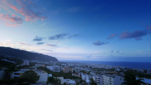 4k sunset time lapse of saint-denis, la réunion - reunion stock videos & royalty-free footage