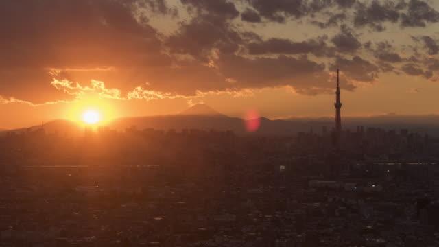 stockvideo's en b-roll-footage met zonsondergang time-lapse over tokio - tokio kanto