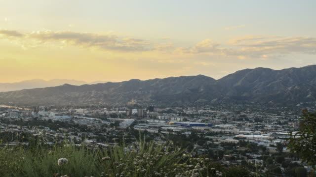 Sunset time laspe above Burbank, California - 4k UHD video