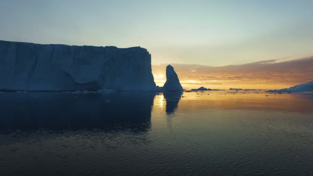 Sunset time on Iceberg at Arctic Ocean in Greenland video